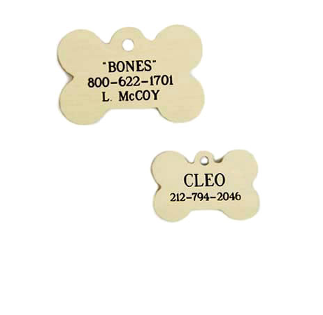 Brass | Bone-Shaped | Personalized ID Tag | Dog Tag