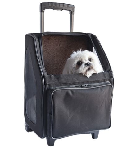Travel Dog Carrier - On Wheels Puppy Bag Black, Brown