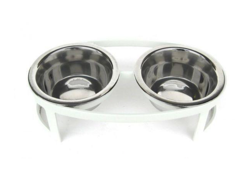 Oval Tiny Double Diners -  Dog/Cat Feeder - Dog Bowl - 2 Color Options