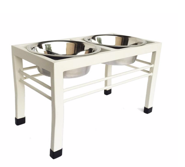 Double Dog Swan Diner - Dog Feeder - Dog Bowl - 2 Color Options