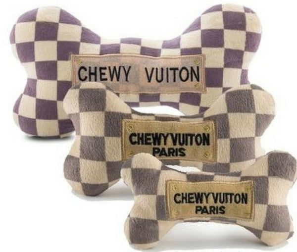Checker Chewy Vuitton Bone Dog Toy - Dog Toy - 2 Sizes