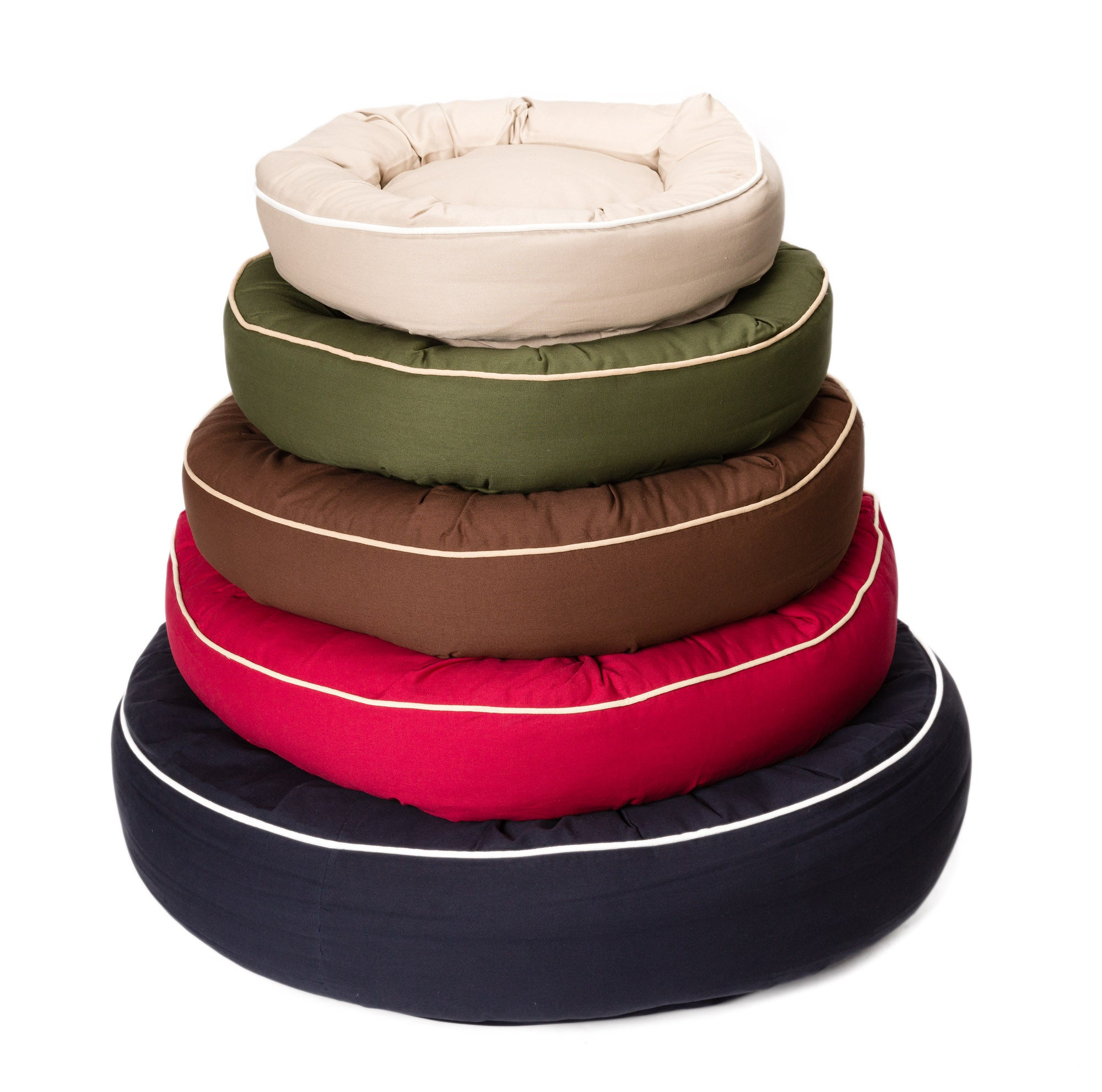Canine Styles - Cotton Canvas Beds - Solid Colors w/Off White Piping - Dog Beds - 7 Color Options