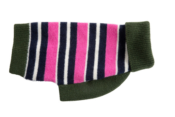 Cashmere Pink, Navy & Green Stripe