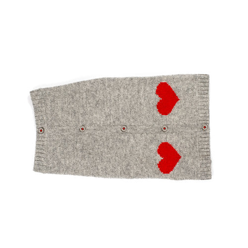 Navy Sweater w/Red Hearts - Grey w/Red Hearts - Dog Sweater