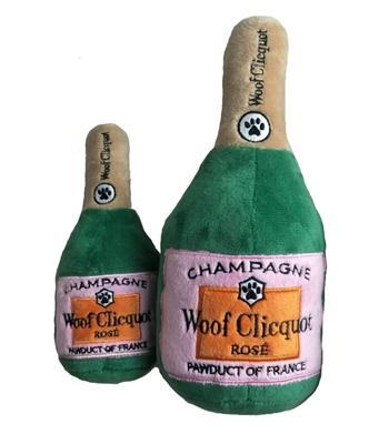 Clicquot Rose' Champagne Bottle - Dog Toy - Squeaker Toy - 2 Sizes
