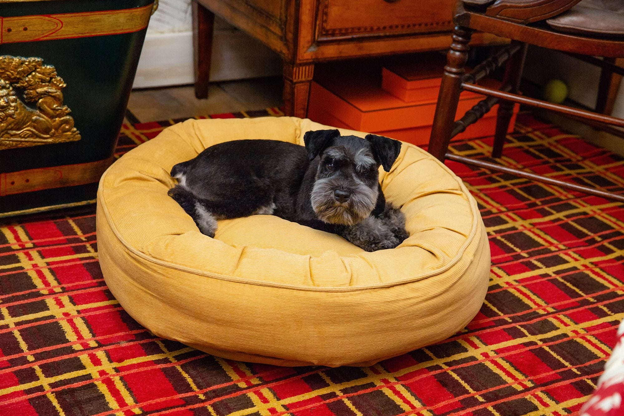 Canine Styles - Corduroy Camel & Light Green - Dog Bed