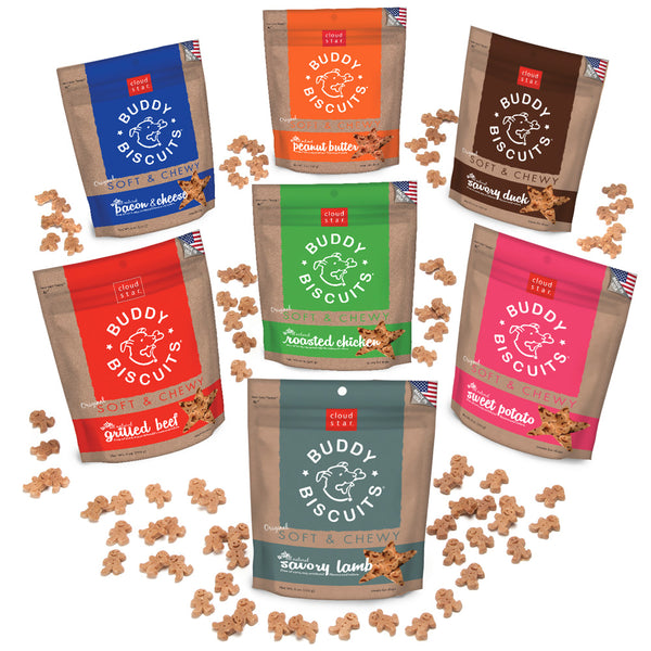 Buddy Biscuits - Grain Free - Soft & Chewy Training Treat - 4 Flavors - USA