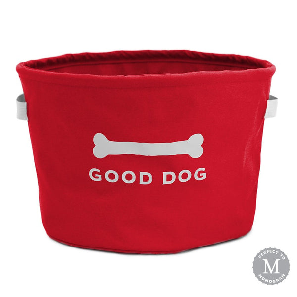 Good Dog Toy Bin | Red & Grey | New