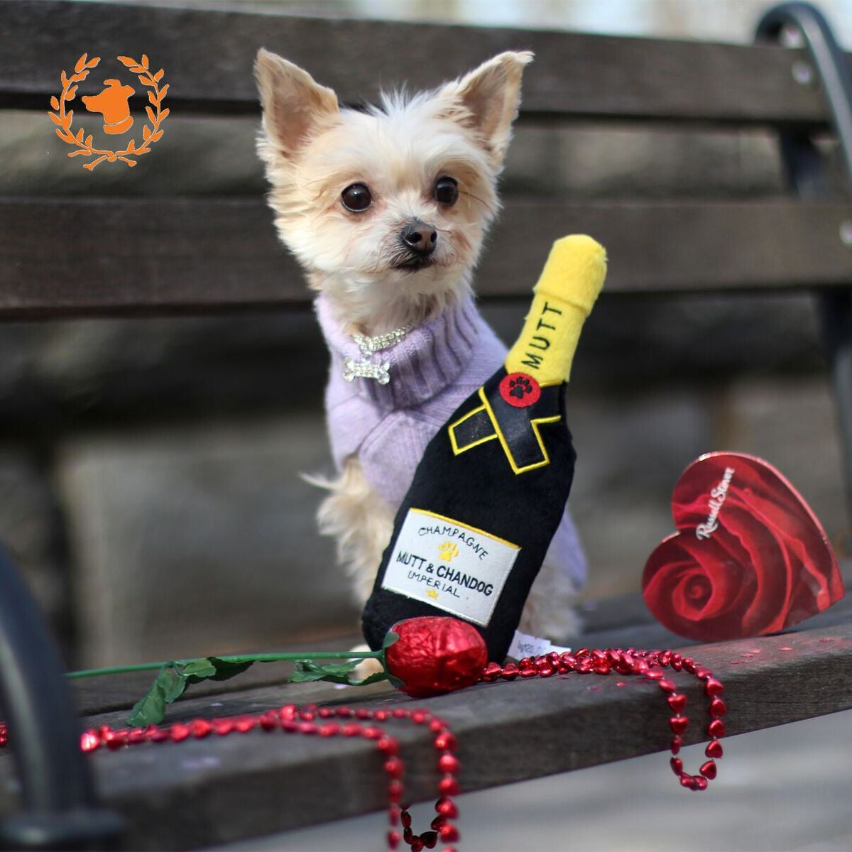 Mutt & Chandog - Champagne Toy - Dog Toy - 2 Sizes