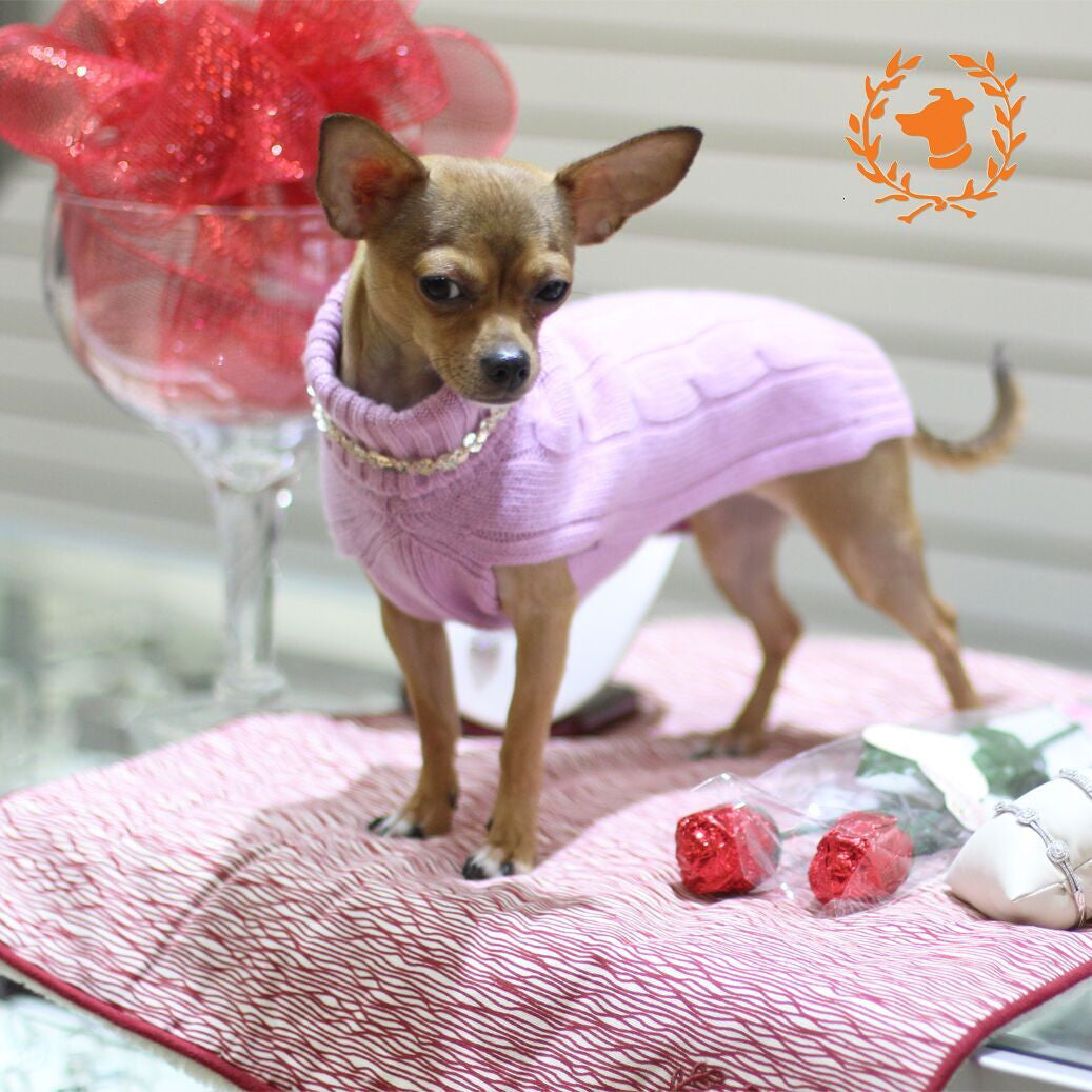 Cashmere Grey and Baby Pink Dog Sweater