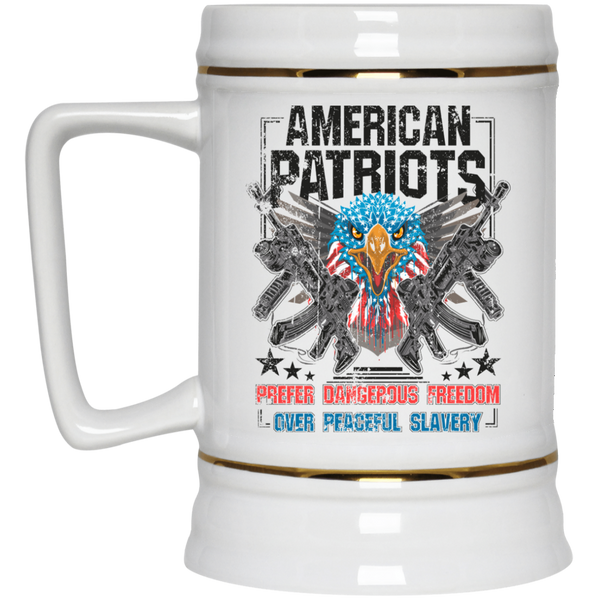 American Patriots Prefer Freedom - White Beer Stein 22oz.