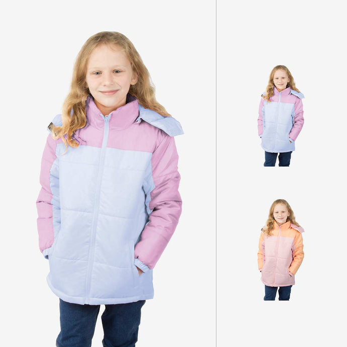Blush Combo Wholesale Girl Puffer Coat Sold in Bulk