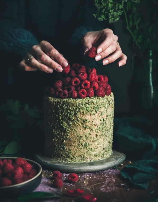 Pistachio Cake + Raspberry Rose Buttercream