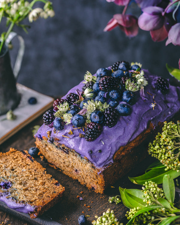 Vegan + Adaptogenic Banana Blueberry Bread