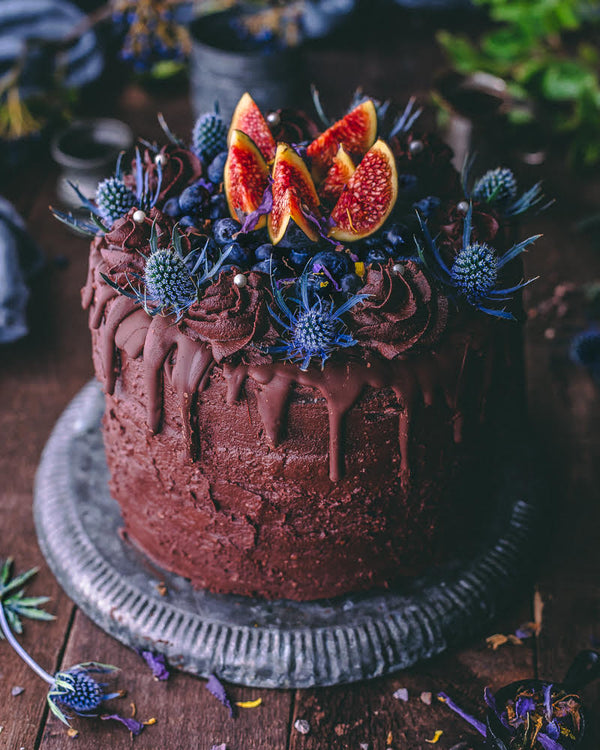 Rich Cacao Chocolate Cake with Blue Lotus Buttercream