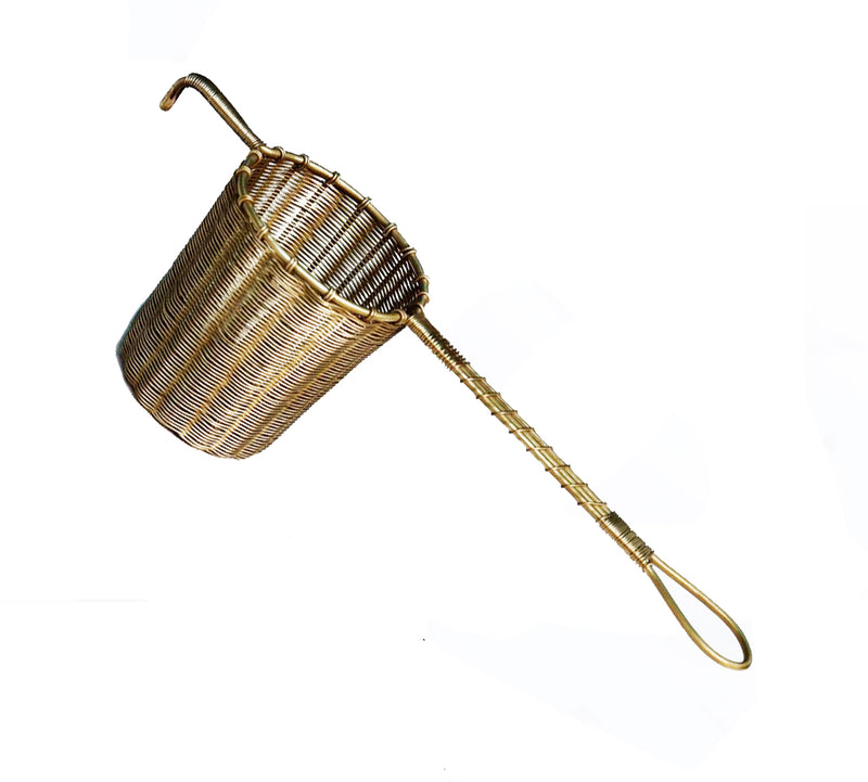 Woven Brass Tea Strainer with Handle