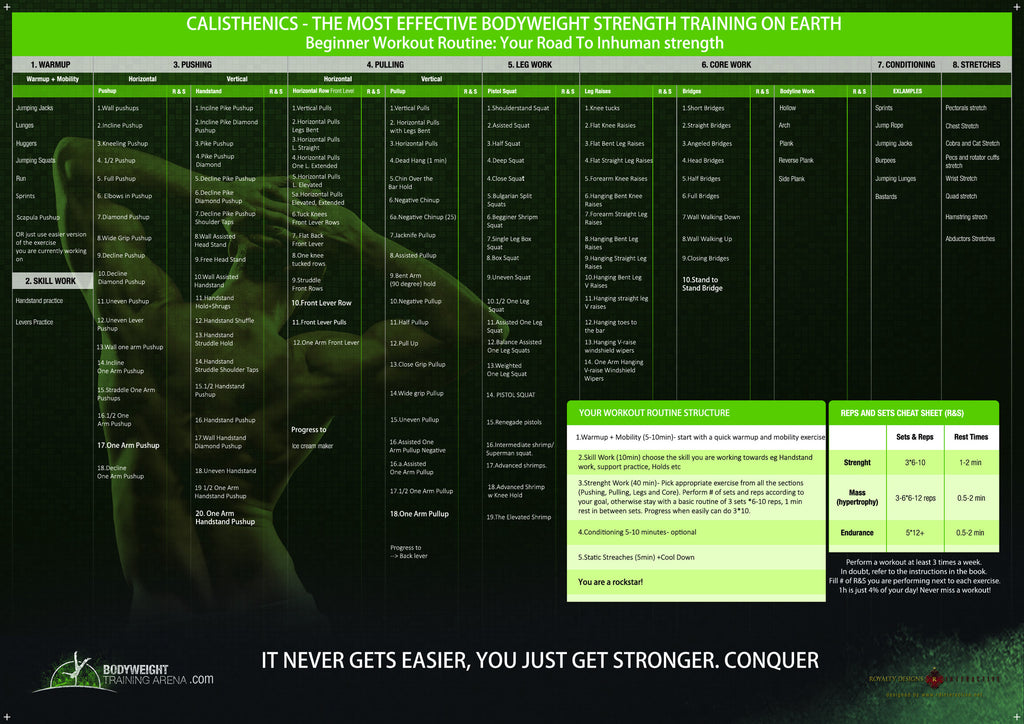 Take your calisthenics to the next level with Printed Progression Poster
