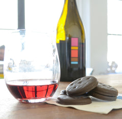 A bottle of Uproot Wines 2013 Grenache next to Girl Scout Thin Mints. A delicious pairing.