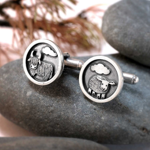 Hairy Coo and Sheep Cufflinks