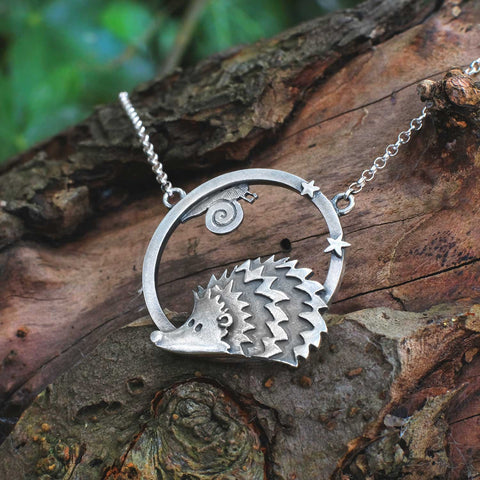 Hedgehog and Snail Necklace