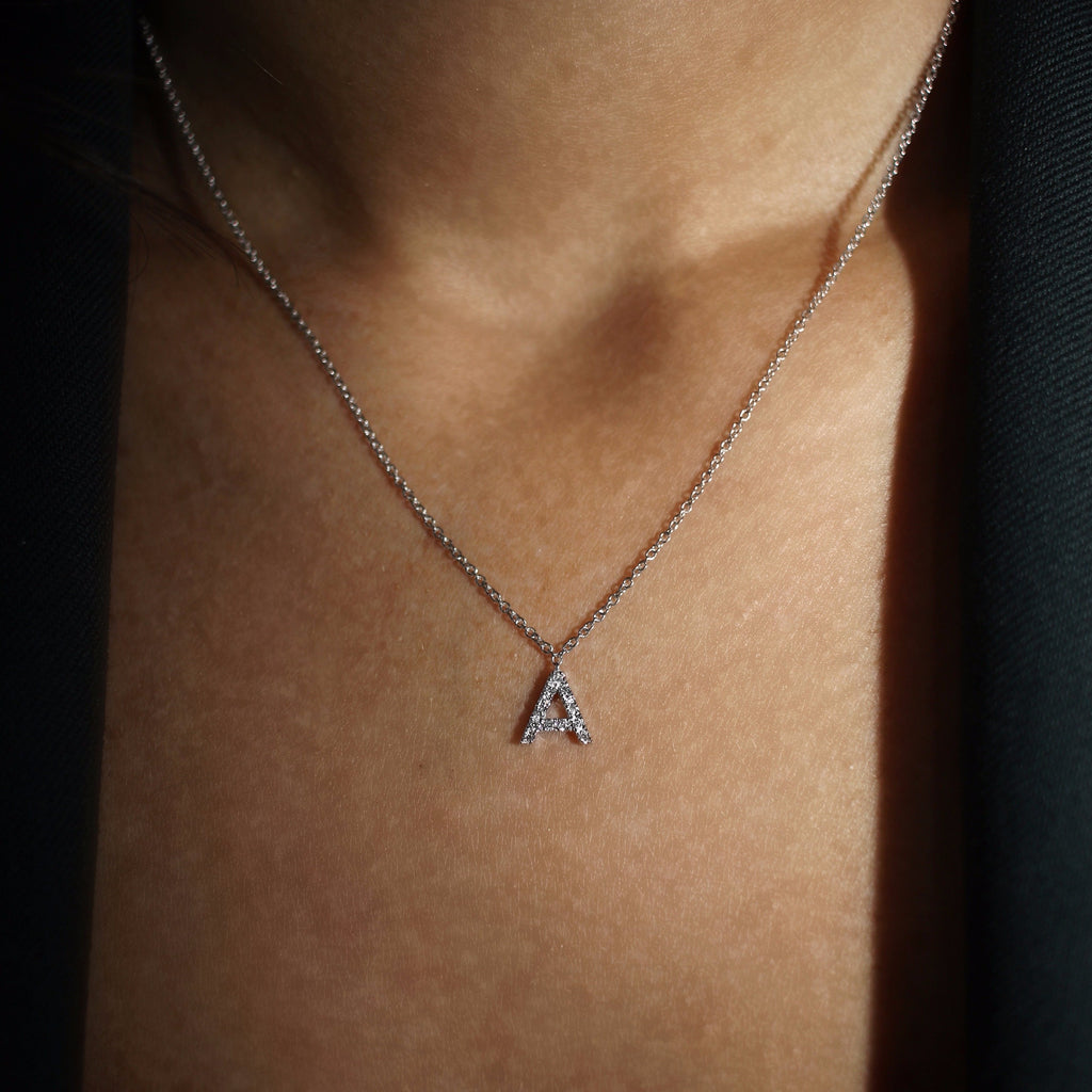 BIG DIAMOND INITIAL NECKLACE