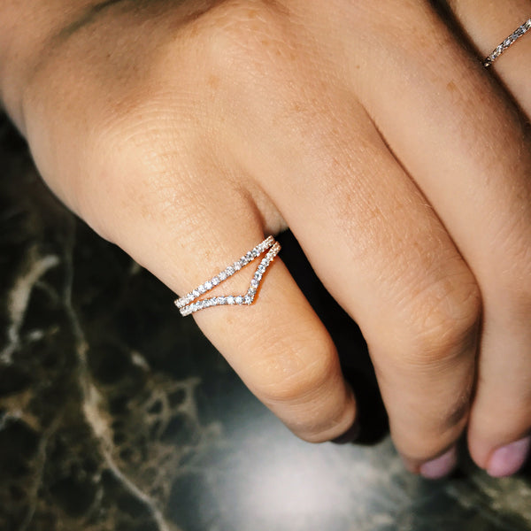 FREDA Curved Diamond Half Pavé Ring