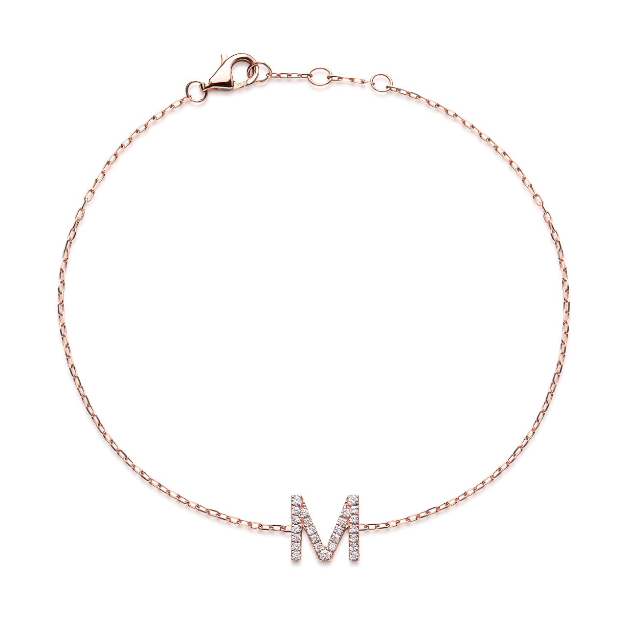 BIG DIAMOND INITIAL BRACELET