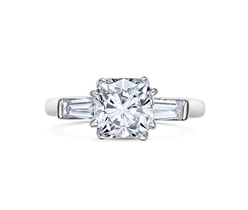 SOFIA cushion cut with tapered baguette side stones