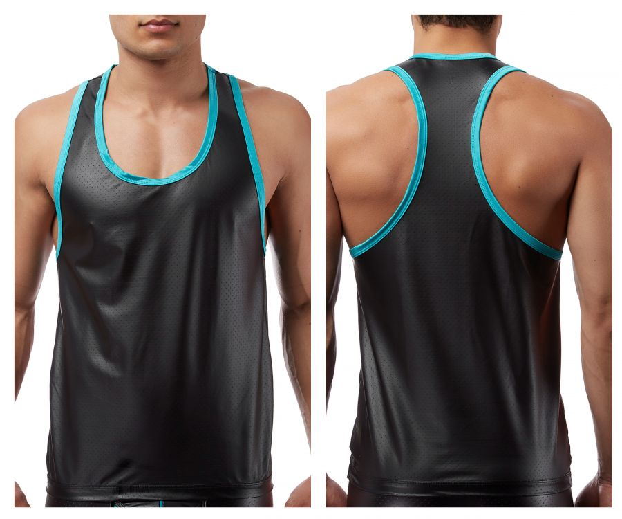 Male Power 112233 Lazer Mesh Tank Top Color Black