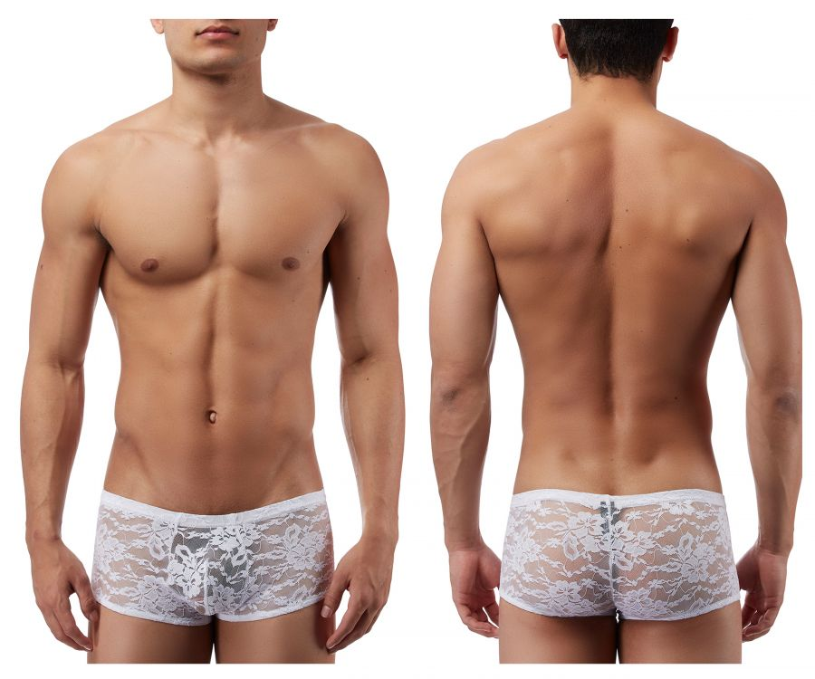 Male Power 145162 Stretch Lace Mini Short Boxer Briefs Color White