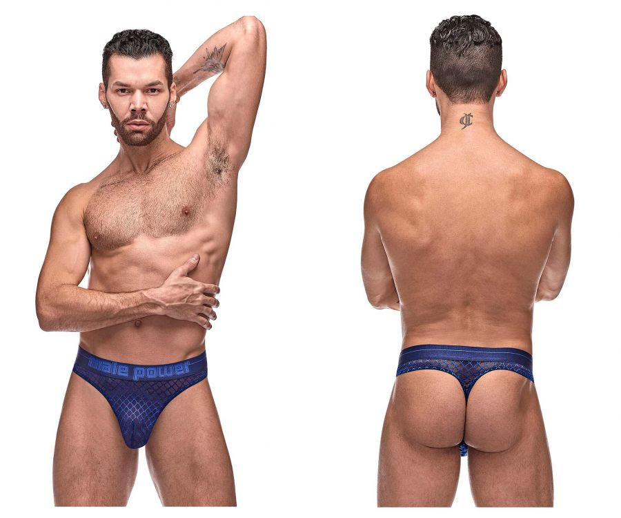 Male Power 442-264 Diamond Mesh Bong Thong Color Navy