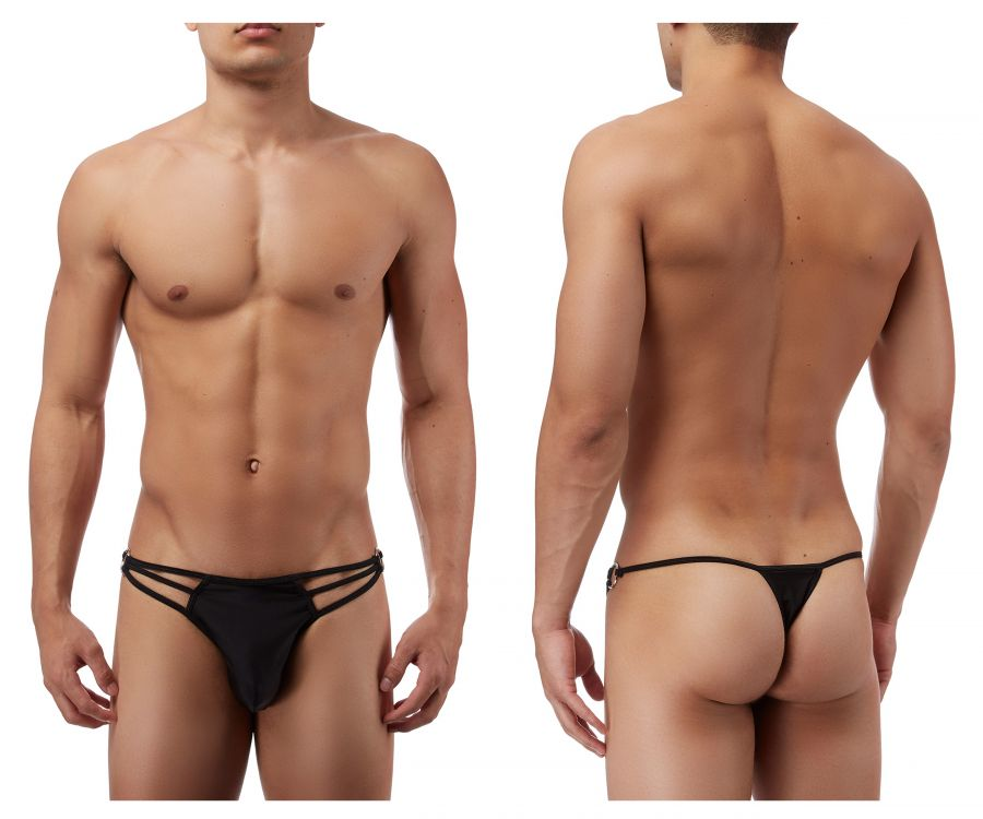 Male Power PAK828 G-Thong with Straps and Rings Color Black