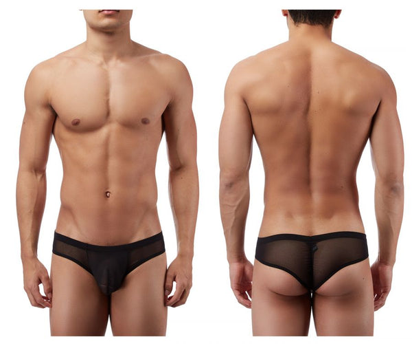 Male Power PAK883 Euro Male Mesh Shirred Pouch Manty Briefs Color Black