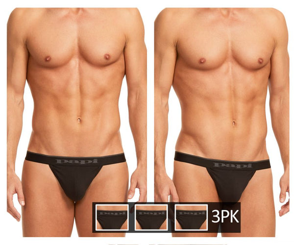 Papi 980902-001 3PK Cotton Stretch Thong Color Black