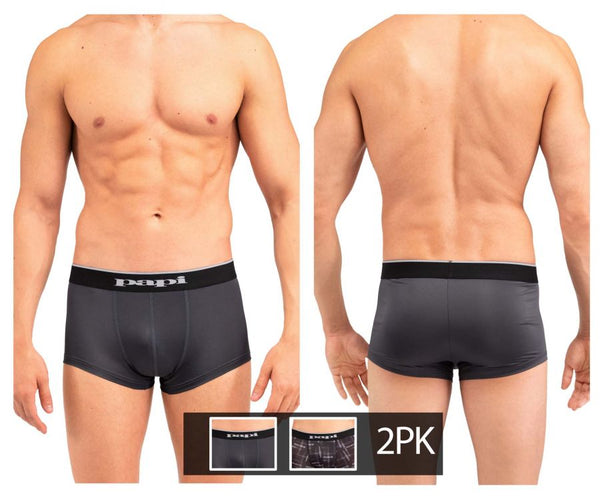Papi MPA005 2PK Brazilian Trunks Color Black-Gray