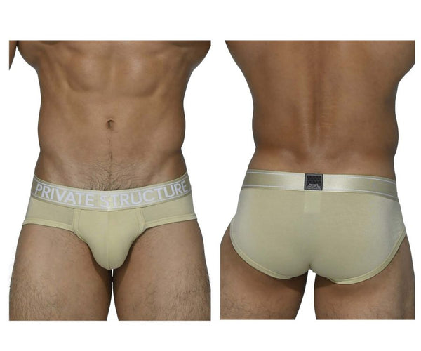Private Structure PBUZ3748 Platinum Bamboo Briefs Color Pale Khaki