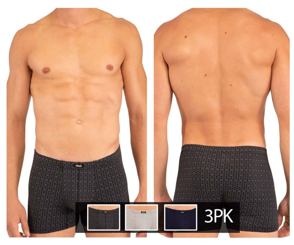 Rico 250709 3PK Stripes Boxer Briefs Color Black-Gray