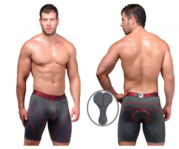 Xtremen 51371 Cycling Padded Boxer Briefs Color Gray
