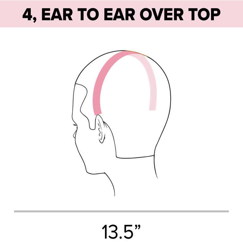 Standard head measurement chart ear to ear over top