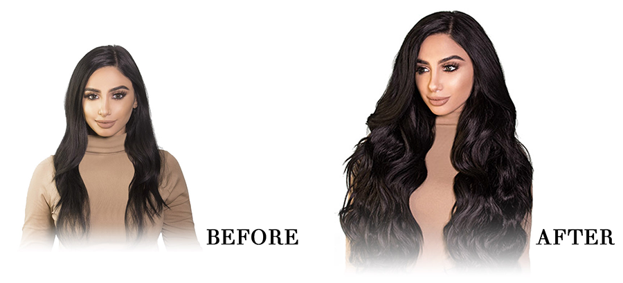 bellami bell-air halo hair extensions before and after