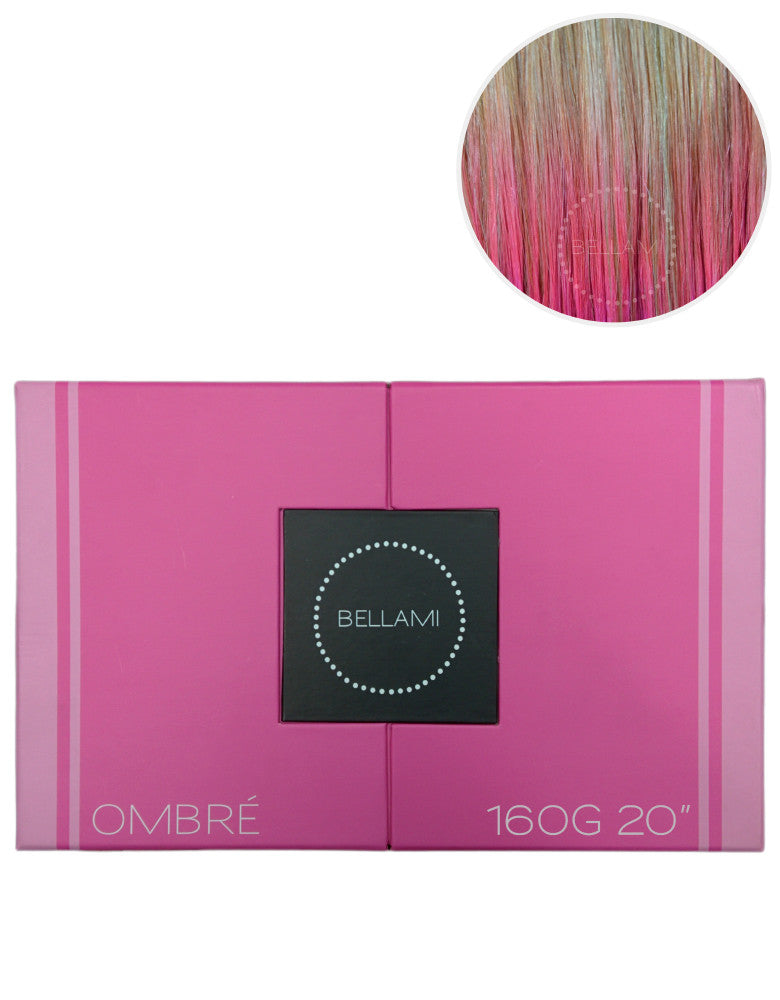 Bellami 160g 20 Ombre Dirty Blonde 18pastel Pink Hair Extensions
