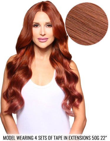 "BELLAMI Tape in Extensions 50g 22"" Vibrant Red (33)"