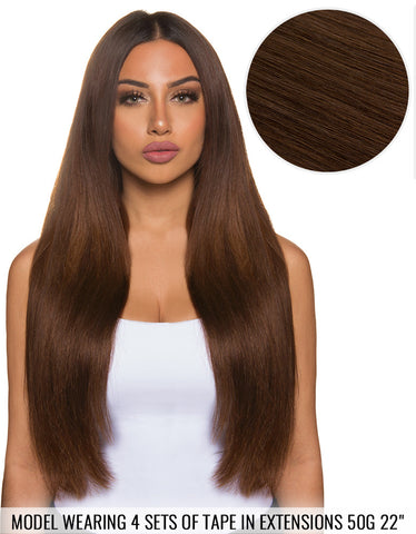 "BELLAMI Tape in Extensions 50g 22"" Chocolate Brown (4)"
