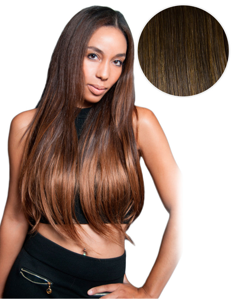"Balayage 220g 22"" Hair Extensions #1C Mochachino Brown / #4 Chocolate Brown"