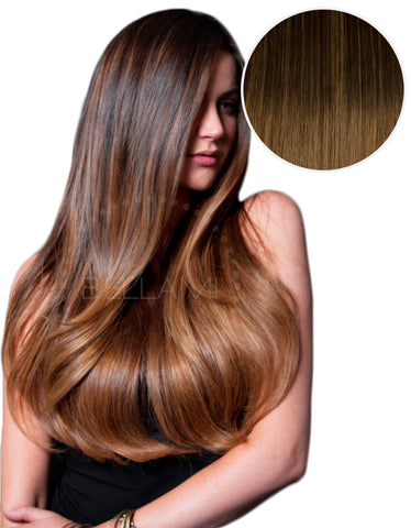 "Balayage 220g 22"" Ombre Hair Extensions #2 Dark Brown/ #6 Chestnut Brown"