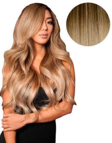 "Balayage 220g 22"" Ombre Hair Extensions #4 Chocolate Brown/ #18 Dirty Blonde"