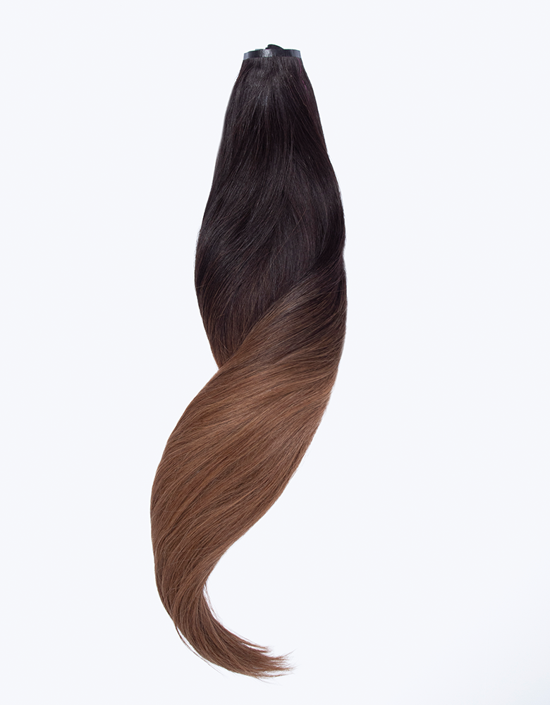 "BELLAMI Silk Seam 50g 18"" Volumizing Weft Dark Brown/Ash Brown Ombre (O2/8)"