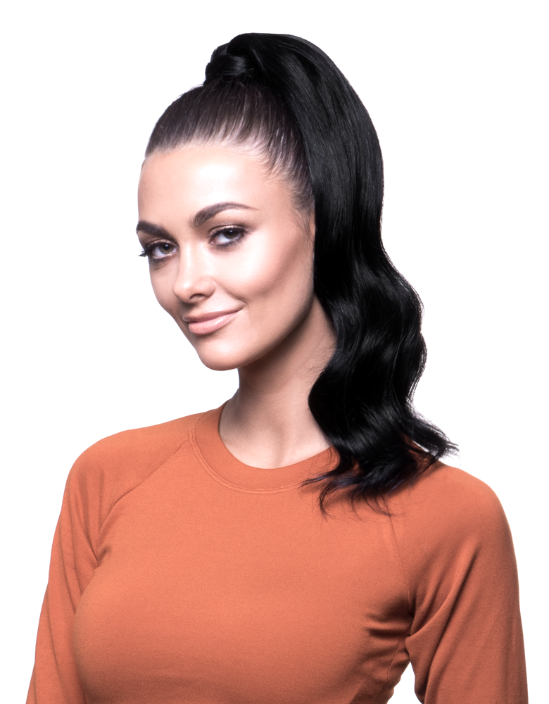 "BELLAMI It's A Wrap Ponytail 16"" 80g Jet Black (#1) Human Hair"