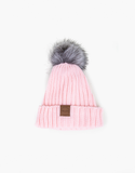 BELLAMI Cuff Beanie - Fur Pom Pom - Light Pink