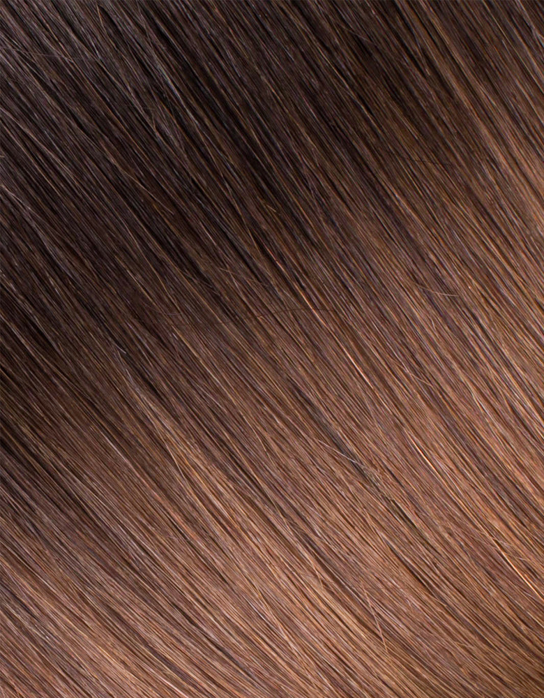 "BELLAMI Silk Seam 60g 24"" Volumizing Weft Rooted Off Black/Almond Brown  (1B/7)"